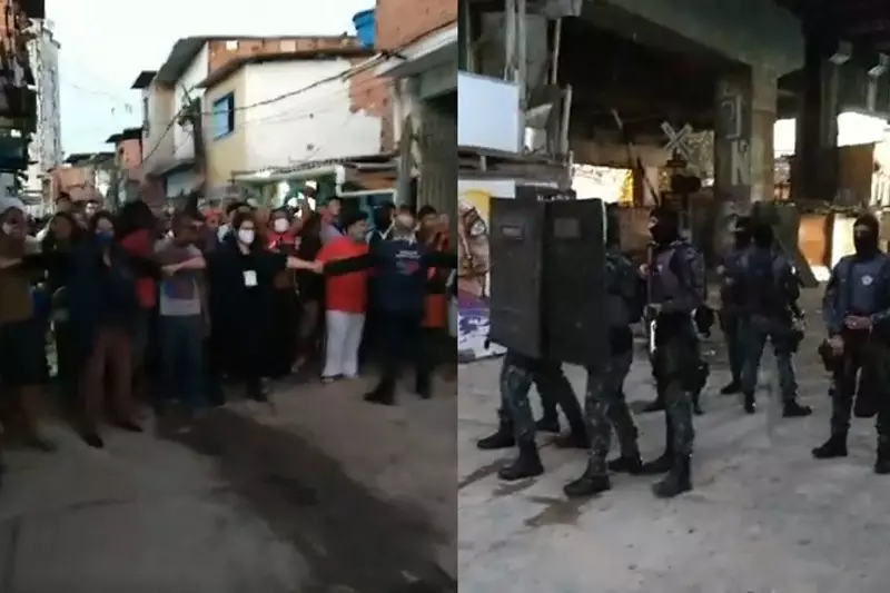 Protesto na favela do Moinho